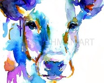 ON SALE Cow Watercolor Print, Animal Watercolor, Cow Painting, Print of Cow Painting, Farm Animal Art, Nursery Animal Art, Cow Illustration
