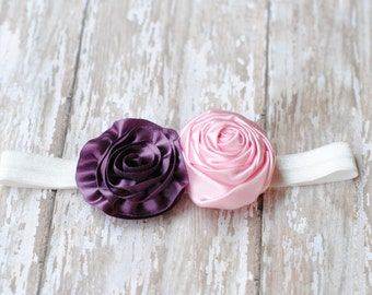 Baby headbands Plum Headbands, Baby Pink Headbands, Photo Prop Vintage Prop Lavender Headband Newborn photography headband