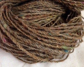 "Scrap Fiber Handspun Yarn-""Dryer Lint""- sport/worsted 70yds 2oz 3ply"