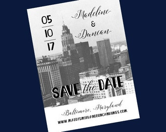 Maryland Skyline Wedding Save the Date // Baltimore Save the Date Card // Vintage Wedding Save the Date //