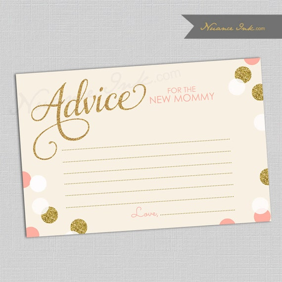 It's a Girl Coral and Gold Advice For Mom Card, baby shower, instant download, mommy to be, mom, mother, printables