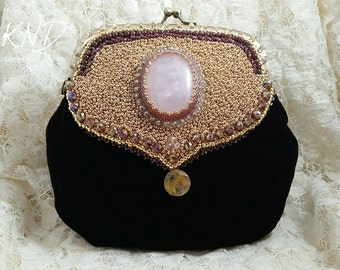 Velvet Evening Bag, Rose Quartz, Rutilated quartz, Bead Embroidery