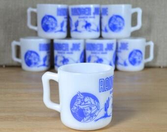 Ranger Joe Ranch Mug, Blue & White Milk Glass, Hazel Atlas Glass, 1940s-1950s Cereal Promo