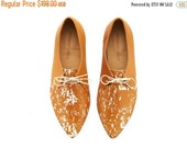 LAST SIZES SALE Lara shoes, Whisky Noodles ,coffee,  handmade, Hand Printed, flats, leather shoes, by Tamar Shalem on etsy