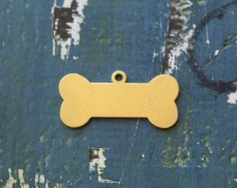"""Brass Dog Bone Stamping Blank- 7/8"""" x 1 3/4"""" Metal Stamping Blank - 24 Guage - Pack of 5 - Jewelry Metal Stamping Blanks - SGET-5463"""