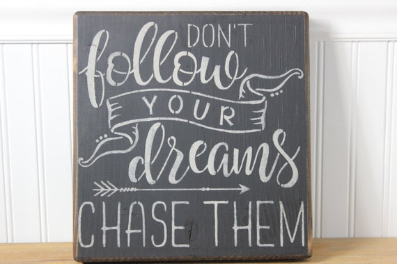 Dream Wood Wall Decor : Wooden sign chase your dreams subway art wall decorwood