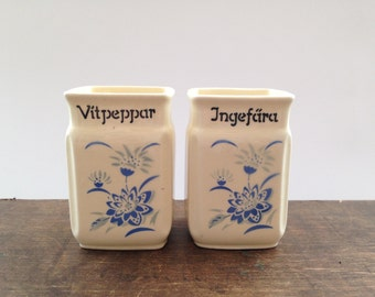 Antique Swedish porcelain storage canister Cream blue kitchen canister Porcelain storage box Antique kitchen storage
