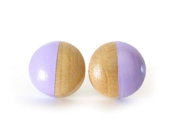 Lavender stud earrings, wood post earrings, purple earrings, lilac earrings, spring colors