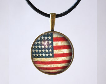 American Flag Necklace USA Flag Necklace US Patriotic Independence Day 4th of July