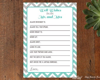 Personalized Well Wishes for the Mr and Mrs - Personalized Printable Well Wishes Wedding Game - Printable Wedding Game