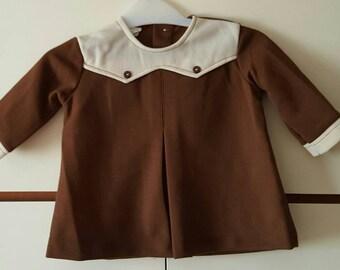 1960s 1970s Original Vintage Girls Dress Brown Modette