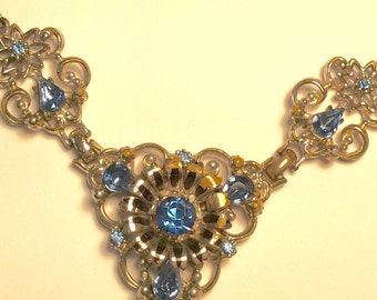 1950s Coro Necklace with Blue Rhinestones, Victorian Edwardian Feminine Necklace ,Sapphire Blue Bridal Jewelry Filigree