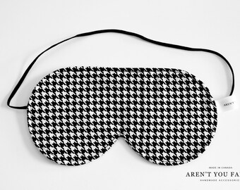 Eye Mask, Sleep Mask, Travel Mask, Handmade Cotton Hounds Tooth Pattern Mask by Aren't You Fancy