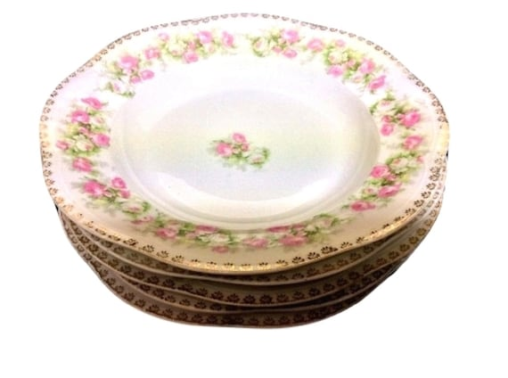 Soup Bowls With Roses Bavarian Z S & Co  Mignon 9 Inches Set of 5