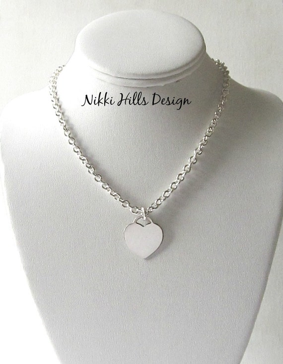 Chunky silver heart necklace
