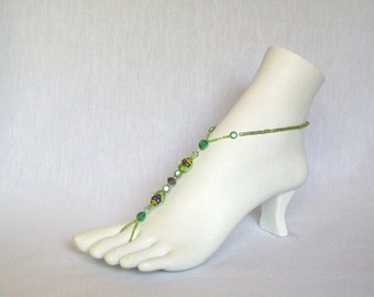 Foot Jewelry, Body Jewelry, Barefoot Sandals, Beaded Anklets - Green Marbles