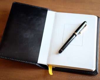 Baron Fig Confidant Notebook and cover, fountain pen friendly notebook, hand stitched bridle leather - black