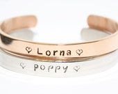 Name Bracelet, Nameplate Bracelet, Stamped Bangle, Rose Gold Bangle, New Mother Gift, Personalised Gift, Name Jewellery, Bridesmaid Gift