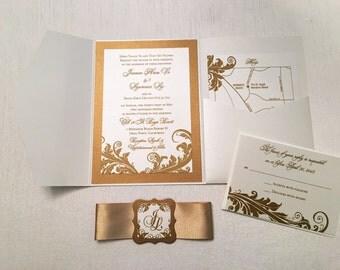 Filigree Flourish Wedding Invitation // Vintage Wedding Invitation