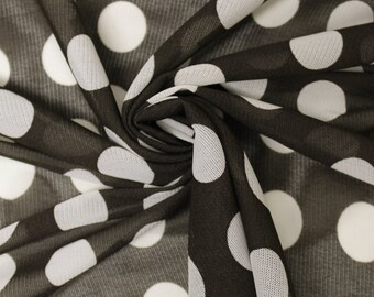 Brown White Polka Dot Power Mesh Fabric Style 8041