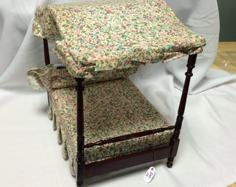 """Dollhouse Miniature 1"""" Scale Canopy  Bed (JS)"""