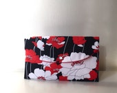 red poppy handbag/red clutch/black red wedding/red poppies bag/bridesmaid clutch/gift idea/red floral bag/red white handbag