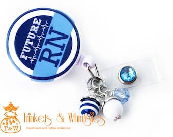 Future RN | Student Nurse | Blue and White with Beads Retractable Badge Holder