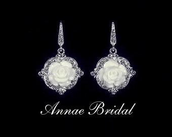 "Bridal jewelry, wedding, Floral earrings with white pearl and rhinestone earrings, silver, ""Floral Elegance"" earrings"