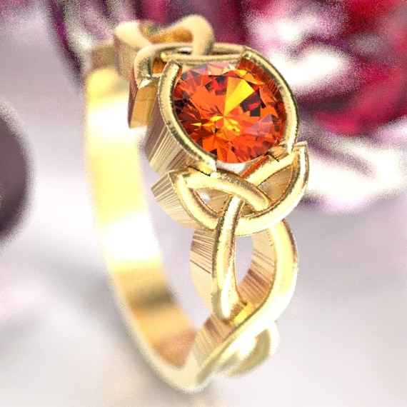 Celtic Orange Sapphire Engagement Ring With Trinity Interweave Knot Design 10K 14K 18K Gold, Palladium or Platinum Made in Your Size CR-405b