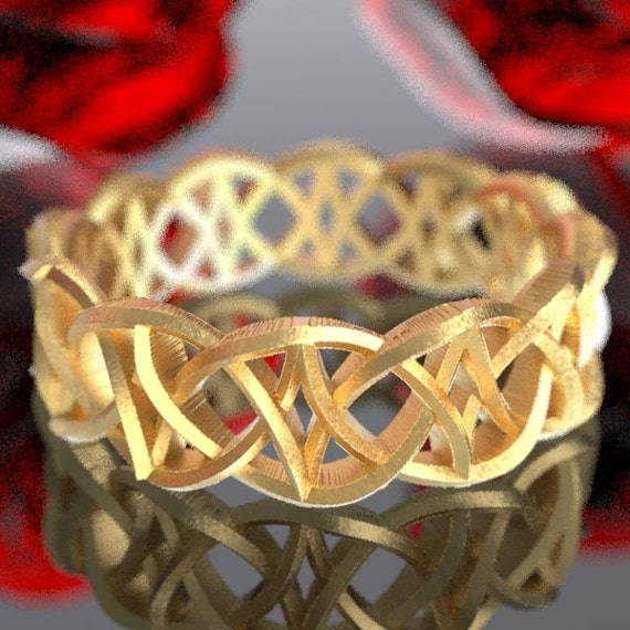 Gold Celtic Dara Knot With Braided Cut-through Knotwork Design in 10K 14K 18K or Palladium, Made in Your Size Cr-99
