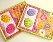 Easter egg mug rugs, snack mats, candle mats, coasters, set of 2, handmade, quilted, applique, Easter egg snack mat, Easter decor