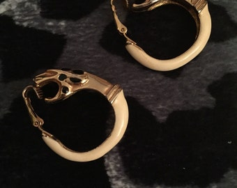Donald Stannard Vintage Cream Enamel Leopard Earrings