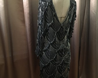 Vintage 80s Black SILK Silver Beaded Sequin FLAPPER Draped Glam Sheer Metallic Spiderweb Scallop Open Back Backless Deep V Long Sleeve Dress