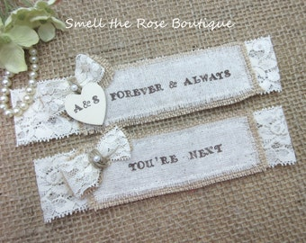 Personalized Wedding Garter Set ,Pick Your Saying ,Country Chic Rustic Wedding Garter Set,Wedding Garters