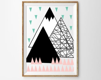 Triangle Mountains | Art Print Poster