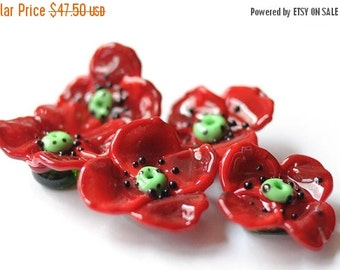 ON SALE Flowers Poppies Red Poppies Glass Lampwork Beads - Floral Red Poppy 5 pcs