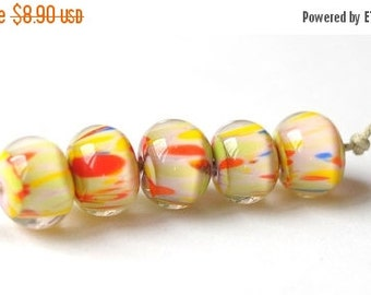 ON SALE Handmade Glass Lampwork Beads - Orange, Yellow, Blue Lime  - 5 pcs Glass Lampwork Beads Set