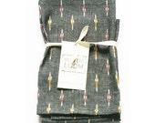Grey TeaTowel- Cotton Handwoven Ikat Tea Towel- Hostess Gift