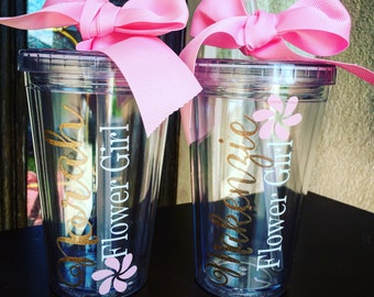 Flower Girl Personalized Tumbler, Flower Girl Gift, Flower Girl Cup, Flower Girl Tumbler, Bridal Party Tumblers. ONE TUMBLER