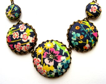 Liberty vibrant print 'Summer Posy' fabric statement necklace