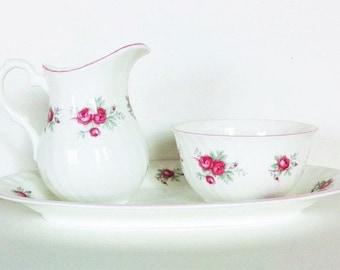 Crown Staffordshire Sweetheart Rose Creamer/Sugar Fine Bone China