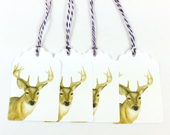 Set of 4 Watercolor Whitetail Deer Gift Tags - Watercolor Painting- Watercolor  Stationary - 4 Gift Tags - Woodland Animal Gift Labels