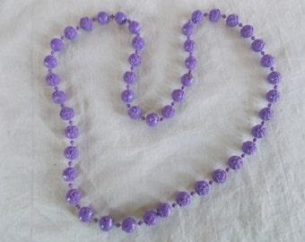 Vintage Small Plastic Lavender Rose Necklace // 20