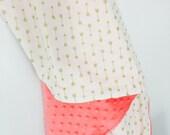 Custom Order- Baby Girl Blanket, Gold Arrow Coral Minky Baby Blanket, Gold Coral Baby Blanket by BizyBelle