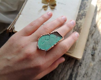 Chrysoprase ring 7.5 size US, gemstone ring, electroformed jewelry, raw ring,  MARIAELA jewelry,