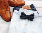Dark Blue Denim Bow Tie | Clip on Bow Tie | Bow Ties for Men | Gift for groom | Bow Ties for Boys | Gift for him | Christmas gift