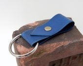 Navy Blue Leather Key Ring w/ brass rivet, deep blue leather key fob, blue leather keychain, vegetable tanned leather, keyring
