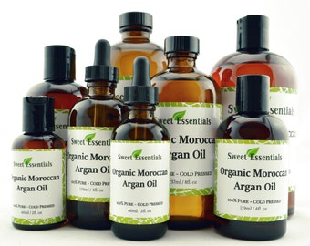 Organic Moroccan Argan Oil | Imported from Morocco | 100% Pure | Various Sizes | For Hair & Skin Use | By Sweet Essentials