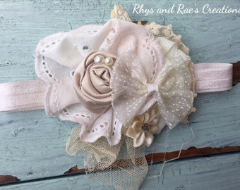 READY TO SHIP-Champagne & Ivory Vintage Flower Headband, Baby Headbands, Lace Flowers, Girls Headband, Newborn Headbands, Flower Hair Clips