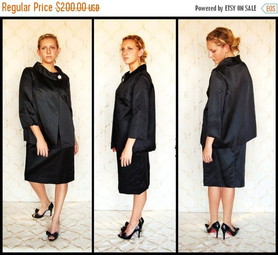 SEXY 50% OFF SALE Classic Jackie O' Black Dress Suit by Robert Louis of California, size 10